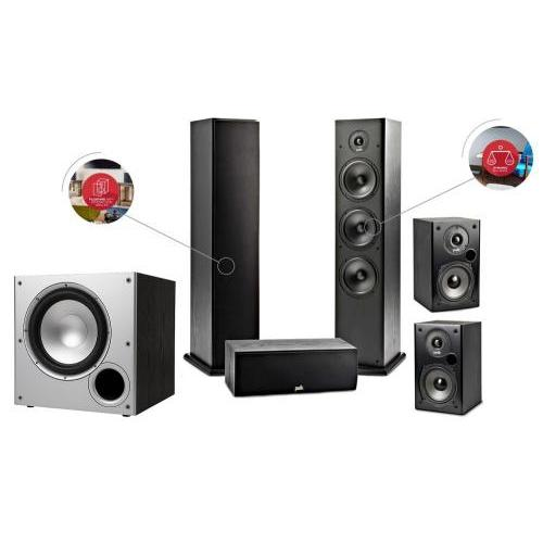 Polk Audio T50 + T15 + T30C + PSW-10E szett